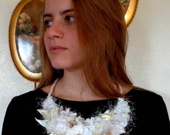Necklace  Boho style, for  bride,  fabric flowers, fashion, boho style, textile jewelry, white necklace, fabric necklace