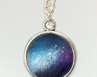 Blue/purple galaxy necklace