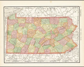 Pennsylvania, Map of Pensylvania Counties, 1913 Antique 11x14 State Map (Reverse Side: Full-Page New Jersey Map) Vintage State Map No. 67