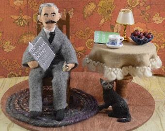 William Faulkner- Diorama Scene-  Classic Literature- Southern Authors- Art Doll- Literary Collectible