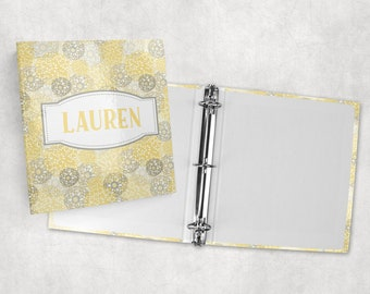 Personalized binder, spring floral print, 3 ring binder, back to school supplies, school binder, binder organizer, office organizer
