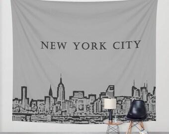 Manhattan Skyline Grey, Wall Tapestry,New York, City,Modern Wall Art,Home Decor,Home Accessories,Bedroom Art,Unique Design,Interior Design