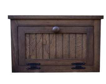 Large Country Farmhouse Wooden Bread Box / Counter Top Cabinet available with a Distressed or Stain Finish
