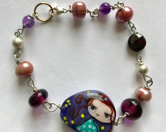 Purple lampwork, pink pearl, purple glass, little girl, lilyb444, sterling silver bracelet, gifts for her, gifts for daughter,
