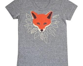 Fox - Womens Girls T-shirt Track Tee Shirt Tri Blend Cute Fantastic Mr Fox Orange Animal Forest Wolf Leaves Tree Athletic Grey Tshirt