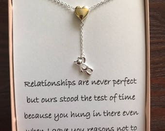 Silver Plated Heart Necklace With poem for wife/girlfriend/friend