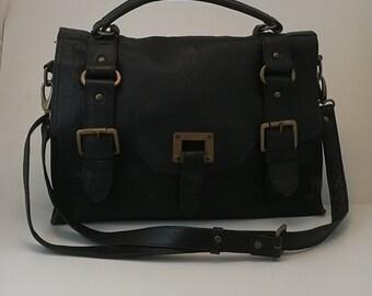 Black leather satchel bag leather shoulder bag
