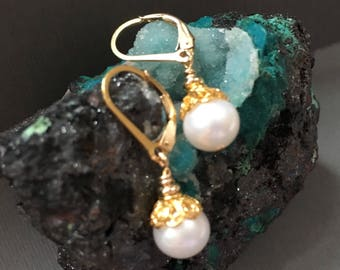Beautiful AAAA quality perfect round White Cultured Pearl earrings with Gold Filled Lever-backs and vermeil gold caps