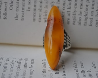 Vintage Sterling Amber Ring - 1940s Sterling and Baltic Amber, Large Amber Ring, Size 8, Free Shipping