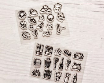 planner stamps, chore stamps, housework planner, weather stamps, chore planner, cleaning stamps,  bullet journal stamps, weather planner