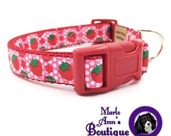 Dog Collar / Strawberry Fields / Strawberry Dog Collar / Red Dog Collar / Pink Dog Collar / Adjustable / Dog Collar and Leash / Summer