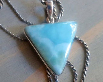 SPRING SALE Sky-Blue Larimar from Dominican Republic triangle pendant in Sterling Silver