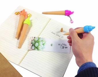 Dripping Ice Cream Cone Ultra fine Felt tip black ink pen with Crystal Drop Charm Smooth Writing Novelty Cute
