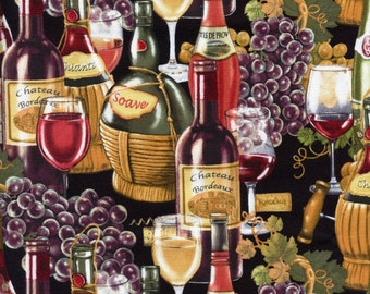 Italian Vineyard Wine Bottles & Grapes Elizabeth's Studio Cotton Fabric 3301 Multi, By the Yard