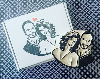 Custom Couples Stamp - Portrait Rubber stamp, custom face stamp, engagement gift, wedding gift, wedding stationary