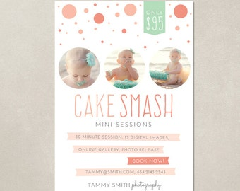 Mini Session Cake Smash Birthday Marketing board MC001 - Template for Photographers - PSD 5x7
