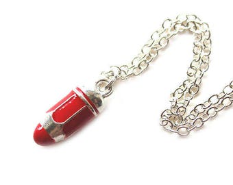 Bright red and silver pencil charm silver necklace LAST ONE