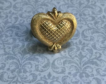 Upcycled Ring, Vintage Ring, Statement Ring, Upcycled Recycled, Repurposed Jewelry, Vintage Earring Ring, Bronze Tone, Gold Heart  /R41