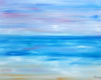 """Beach painting Abstract oil painting Abstract beach artwork Original oil painting beach Beach oil painting Beach art Ocean décor Art 18x24"""""""
