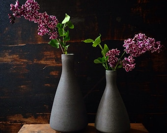 MADE TO ORDER-  one large stoneware modern vase in slate matte by sara paloma.  Modern mid century vases sarapaloma bud vase ceramic pottery