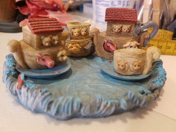 vintage noahs ark tea set animal figurines miniature tea cups pots plates 7 piece set home decor mini tea sets collectibles