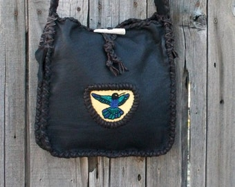 Chocolate brown leather tote with beaded hummingbird totem ,  Beaded leather handbag , Leather handbag