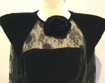 Couture Vintage 80s LILLIE RUBIN Black Velvet & Lace Evening Dress(REDUCED)