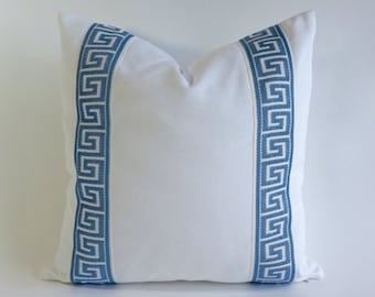 Decorative Pillow Cover Cotton Pure White Cotton Canvas with Medium Blue Greek Key Ribbon Border - 16x16 To 26x26 4 Different Color Choices