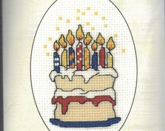 Birthday Cake Cross Stitch Card Kit from Heritage Craft on 14 ct Aida, Counted Cross Stitch, card kit, greeting card kit