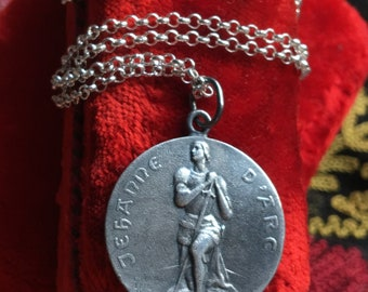 Saint Joan of Arc Medal Necklace Oxidized Silver French Art Nouveau Religious Catholic Jewelry First Communion Gift Christian