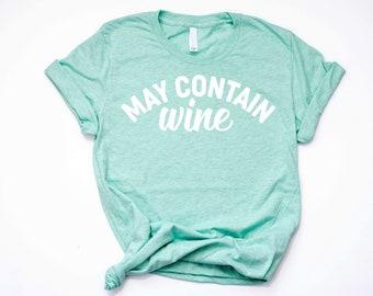 May Contain Wine Funny Women's Shirt, Sunday Funday Shirt, Wine Drinker Shirt