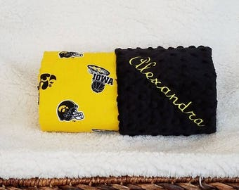 University of Iowa Baby Blanket Name Minky Hawkeyes Football Basketball Baseball PERSONALIZED Baby Boy and Girl Baby Shower Gift