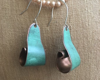 Rolled Salvaged copper Earrings