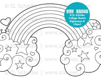 hearts and rainbow digital stamp, valentine digistamp clouds and stars by SLSlines, coloring page instant download