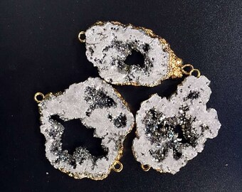 SALE Mystic Silver Druzy Quartz Titanium Crystal Geode Druzy Double Bail Connector Pendant with Electroplated Gold (F5W2-06)
