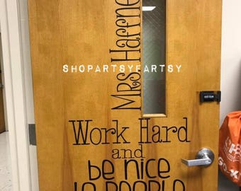 """Door decorative decals for office or classroom 4"""" to 6"""" wide by 24"""" long in Black removable vinyl (non permanent)"""