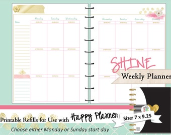 Happy Planner PRINTABLE Weekly Planner Inserts / Refills - PDF 7 x 9.25   Happy Planner | Create 365 | Me & My Big Ideas | mambi