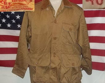 Vintage hunting jacket with bag Bob Allen 1950s Klondike fabric khaki 46 Large slightly worn excellent condition presentable collectible
