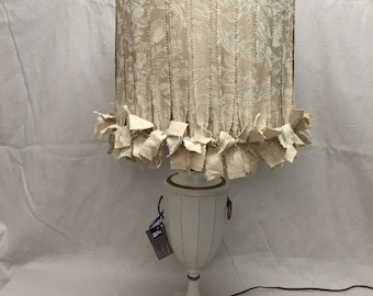 Vintage Table Lamp Wood Urn Hand Painted Mid Century Hollywood Regency NEW  Custom Fabric Lampshade Beige