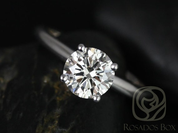 Rosados Box Alberta 7.5mm 14kt White Gold Round F1- Moissanite Tulip Solitaire Engagement Ring
