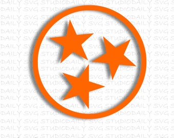 State of Tennessee TN Tri-Star SVG,  Tristar proud pride SVG, Eps, dxf, png, jpg, Digital Cut File For Silhouette and Cricut