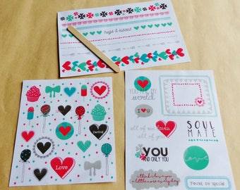 rub - on decal 3 boards sweet lollipop cupcake message heart love Soul mate Garland hugs and kisses transfer rub - ons