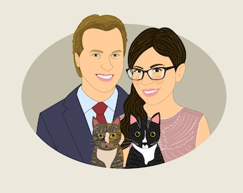 Personalized gift for him or her. Couple portrait with pets. Gift for boyfriend / girlfriend. Bride and groom gift. Unique wedding gift.