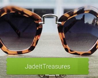 Leopard Print Pentagon Sunglasses, Unique, Stylish and Trendy Shades