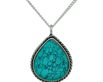 Turquoise Pendant Necklace - Teardrop Turquoise - Teardrop Turquoise Pendant - Teardrop Pendant - Teardrop Necklace - Holiday Gift