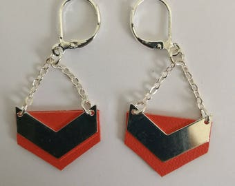 Silver Chevron and orange leather