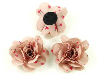 Set of 2 flowers in pink fabric flowers handmade 50mm.