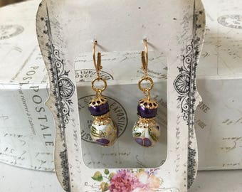 Japanese Tensha bead and Swarovski pearl memory wire earrings