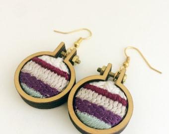 Embroidered earrings– blue, purple, maroon and cream – mini embroidery hoop earrings – hand embroidered jewelry – drop earrings