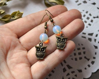 bronze jewelry owls gemstone jewelry patriotic gifts for friends animal jewelry owl earrings women Gift moonstone animal earrings cute gifts